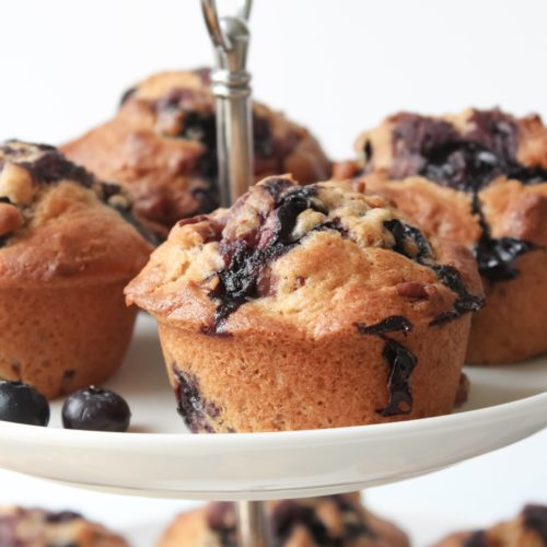 Blueberry, cinnamon and pecan muffins