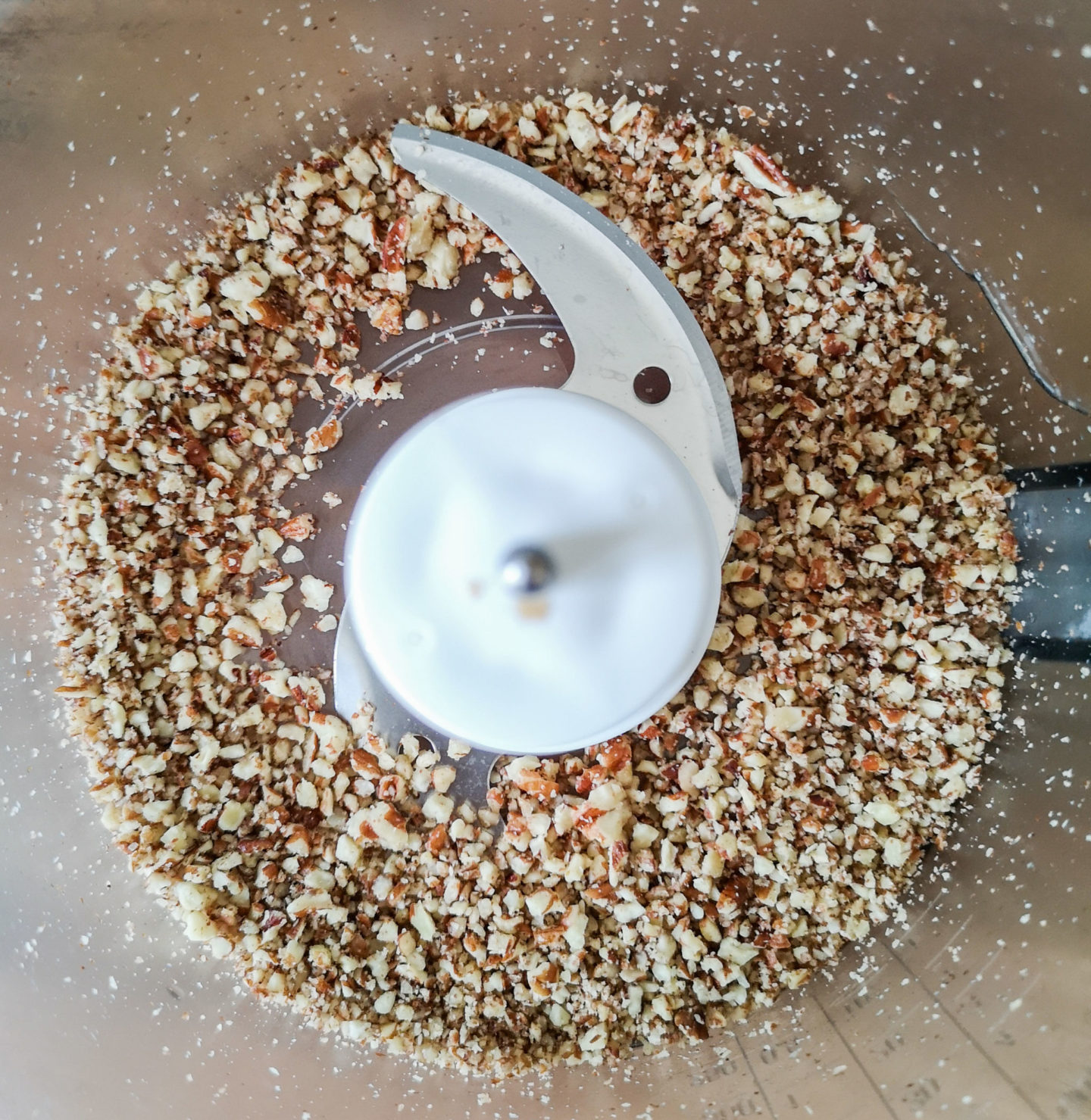 Finely chopped pecans in food processor