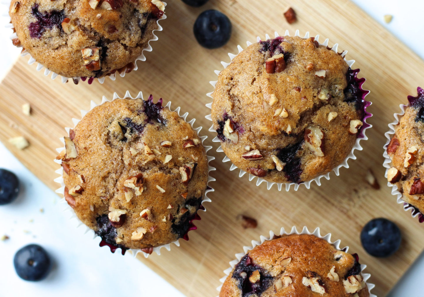 View from above of blueberry nut muffins