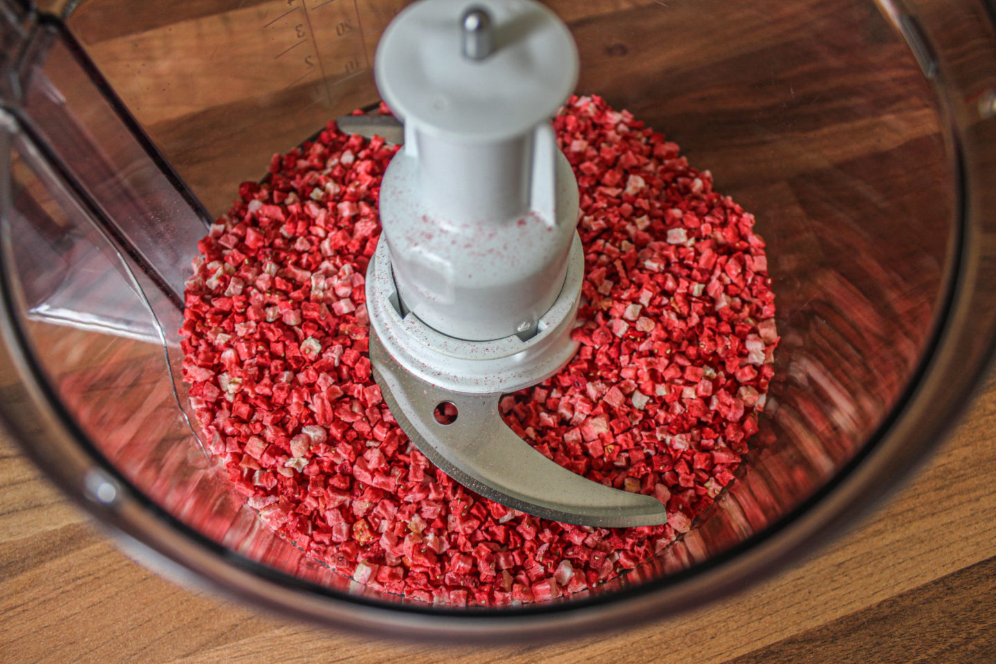 freeze-dried strawberries in a food processor bowl before blending