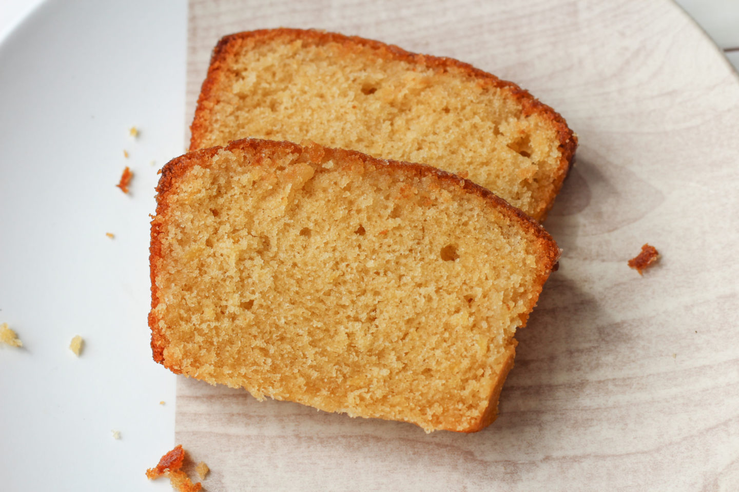 slices of lemon drizzle loaf cake from above