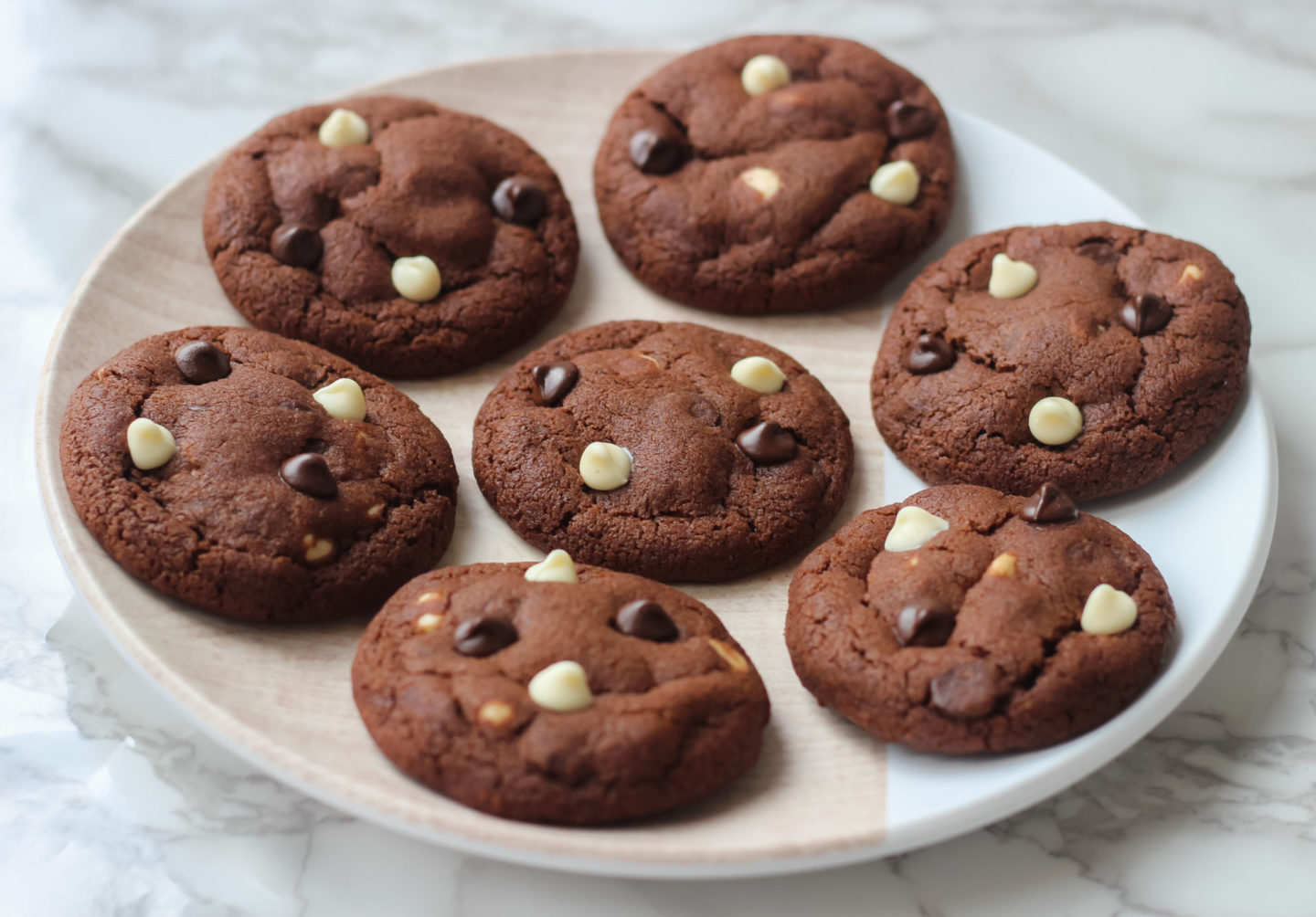plate of triple chocolate chip cookies