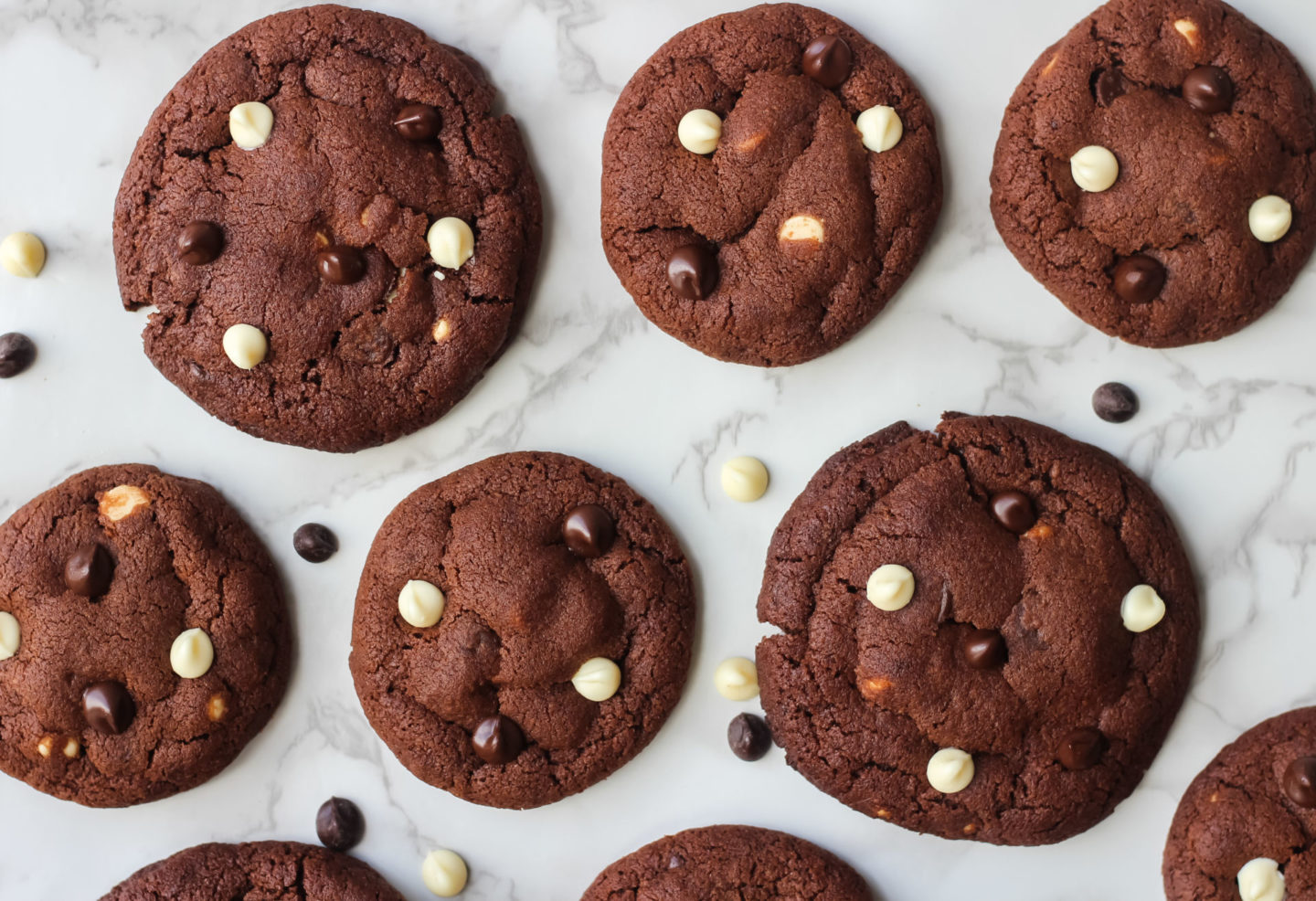 different sized triple chocolate chip cookies