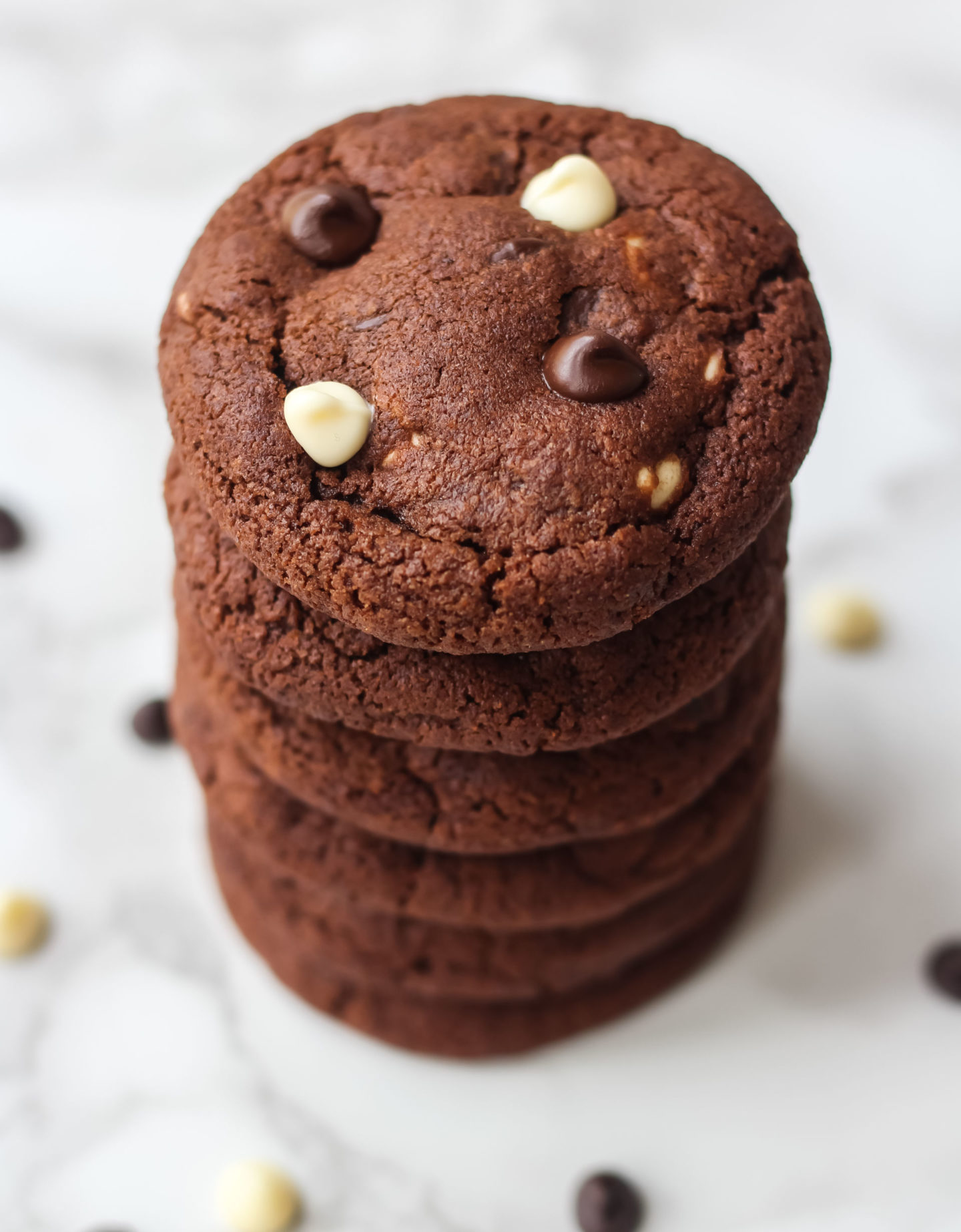 stack of triple chocolate chip cookies