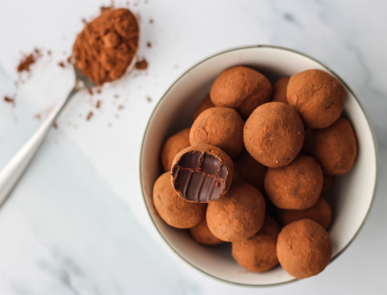 chocolate truffle bowl with bite taken