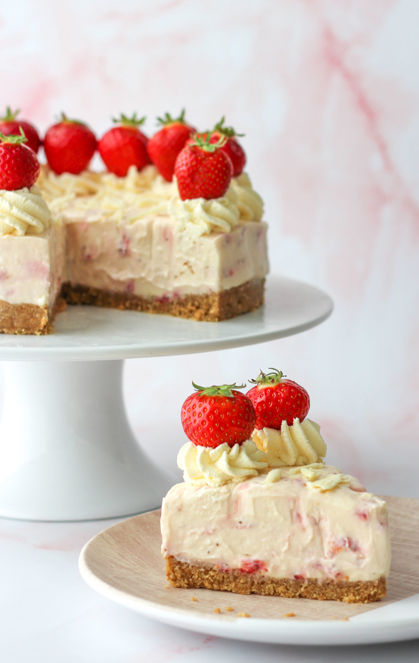 sliced strawberry white chocolate cheesecake