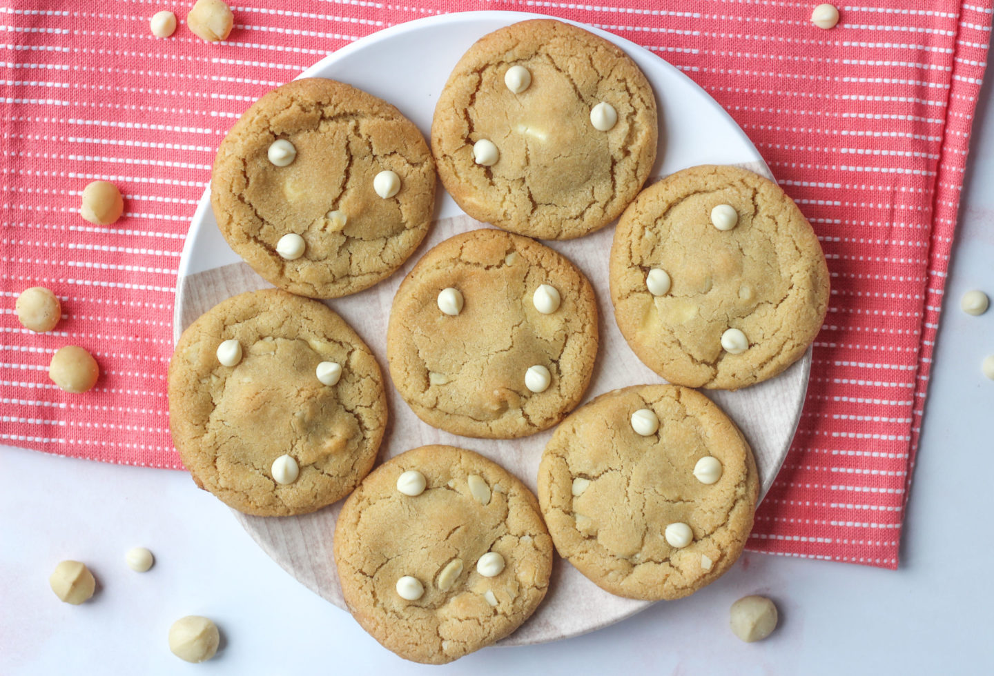 plate of white chocolate macadamia nut cookies