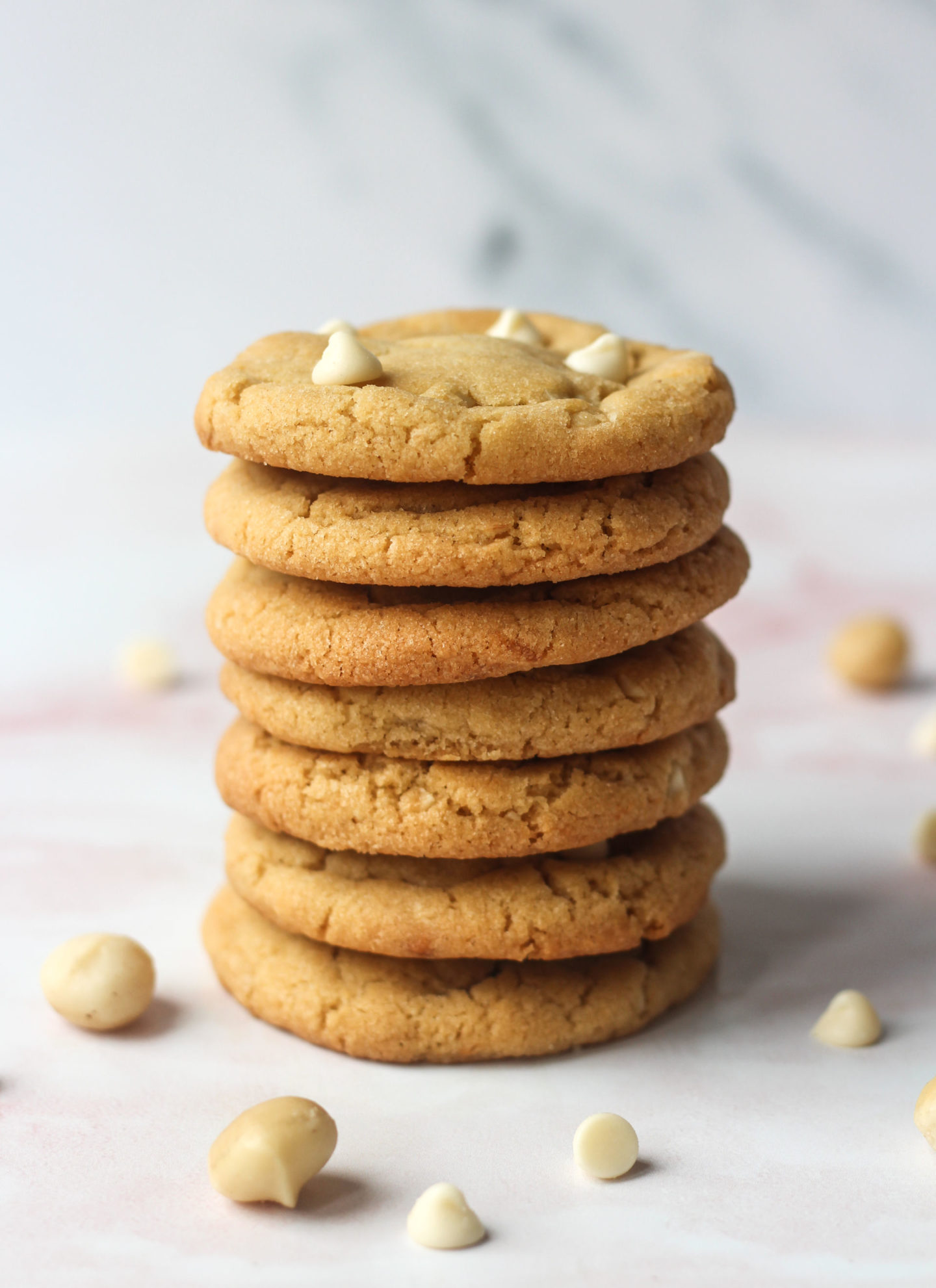 tower of white chocolate macadamia nut cookies