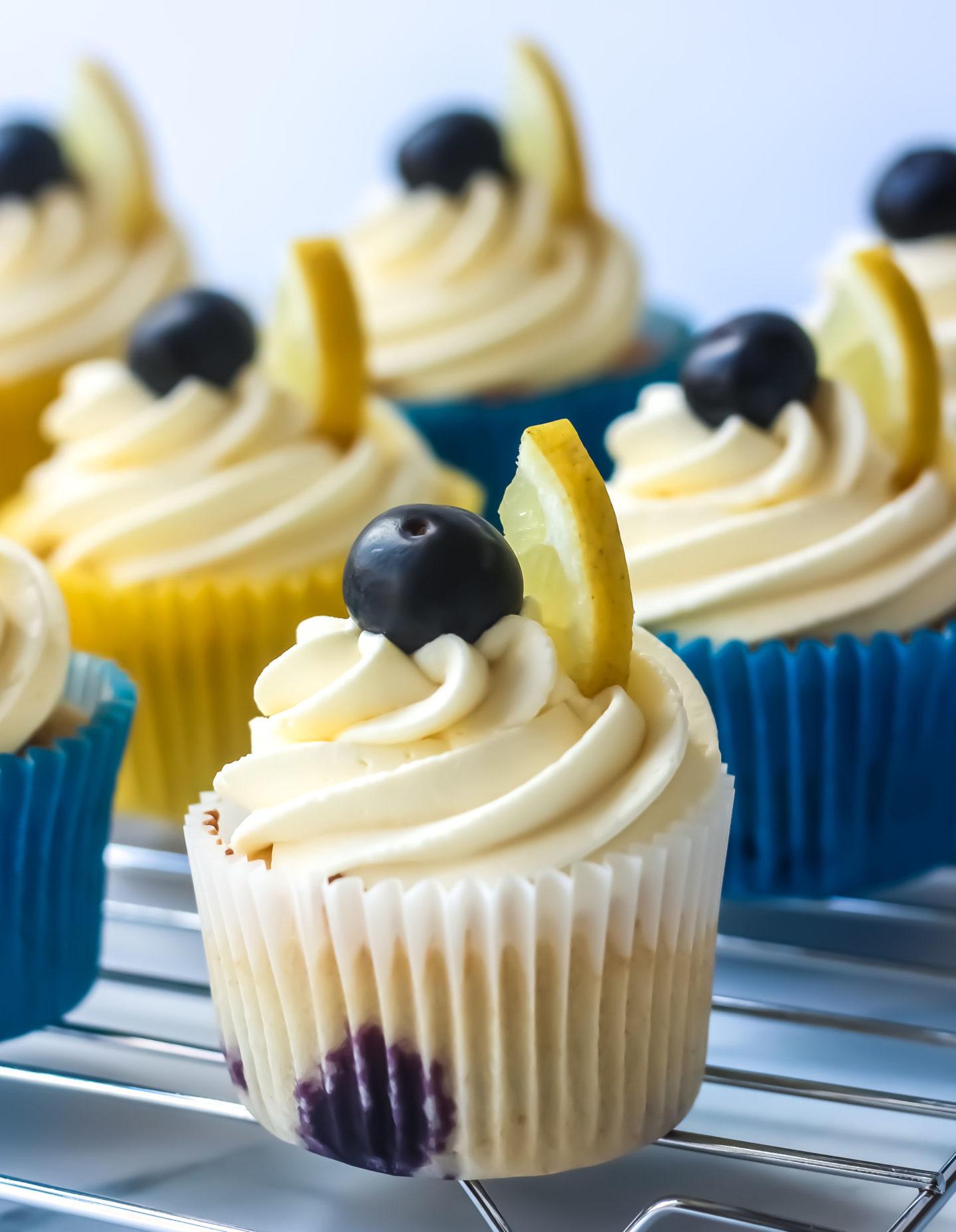 close up of lemon blueberry cupcake