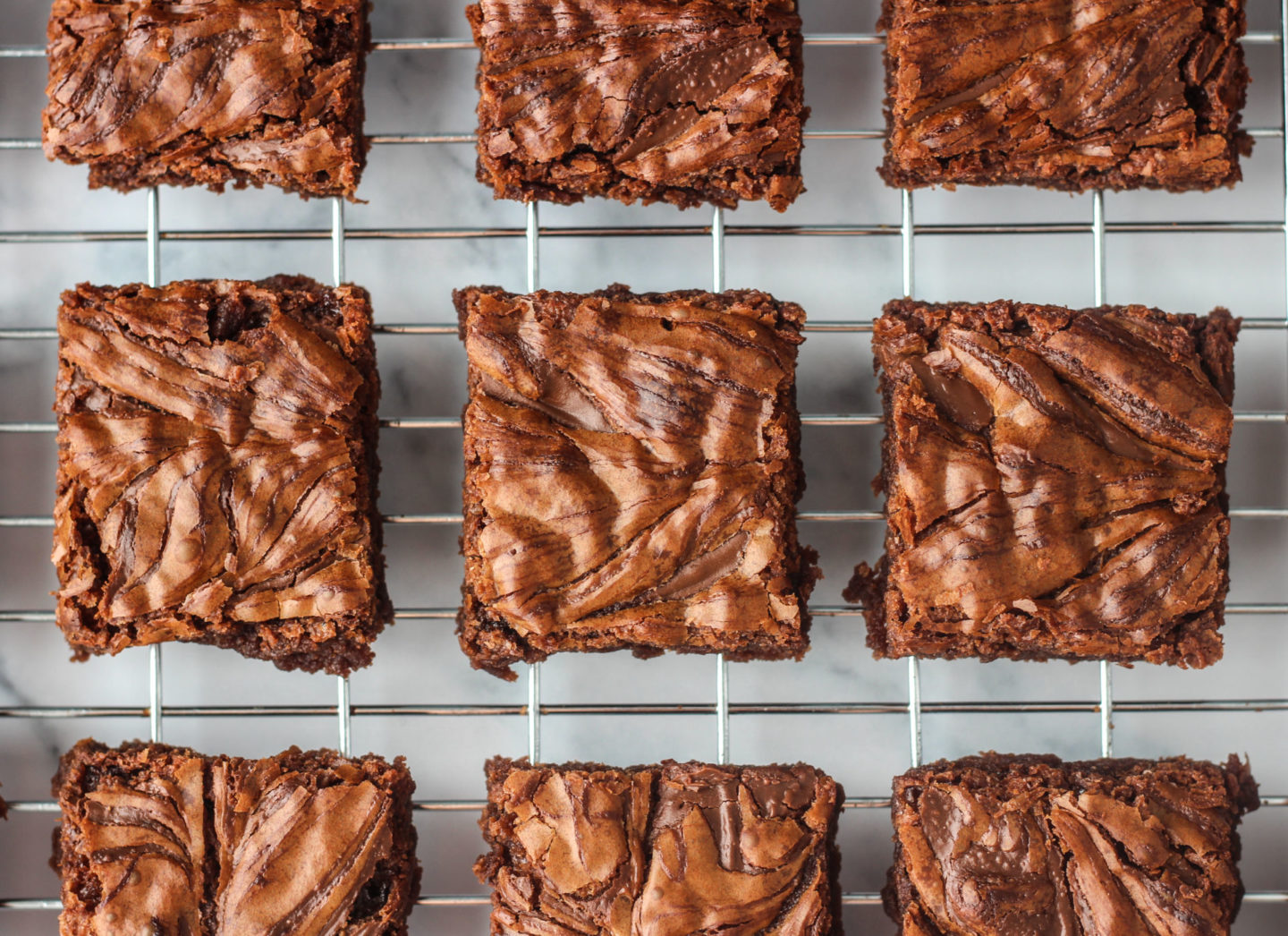 view from above of nutella brownies on wire rack