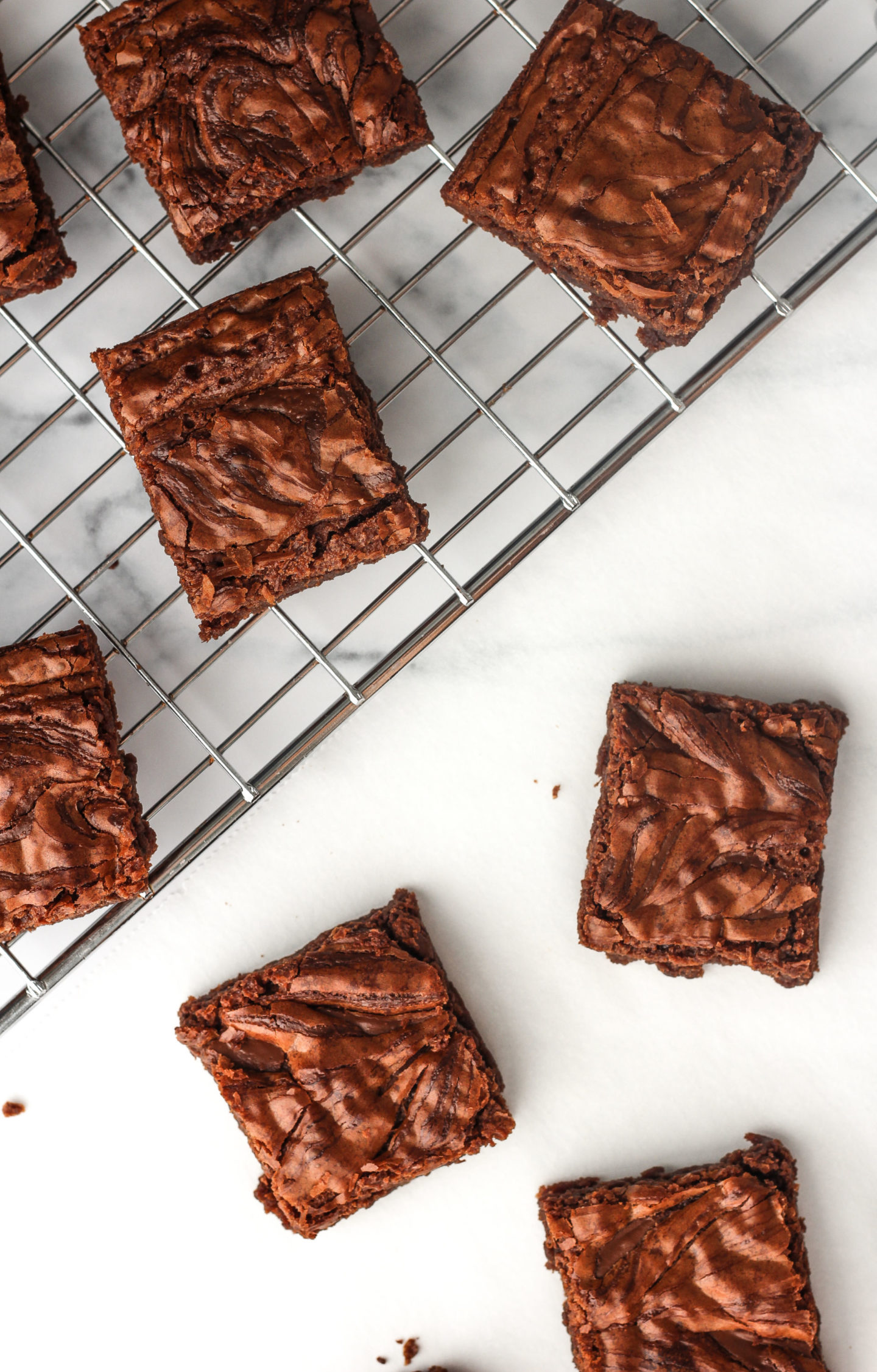 overhead view of nutella brownies on wire rack