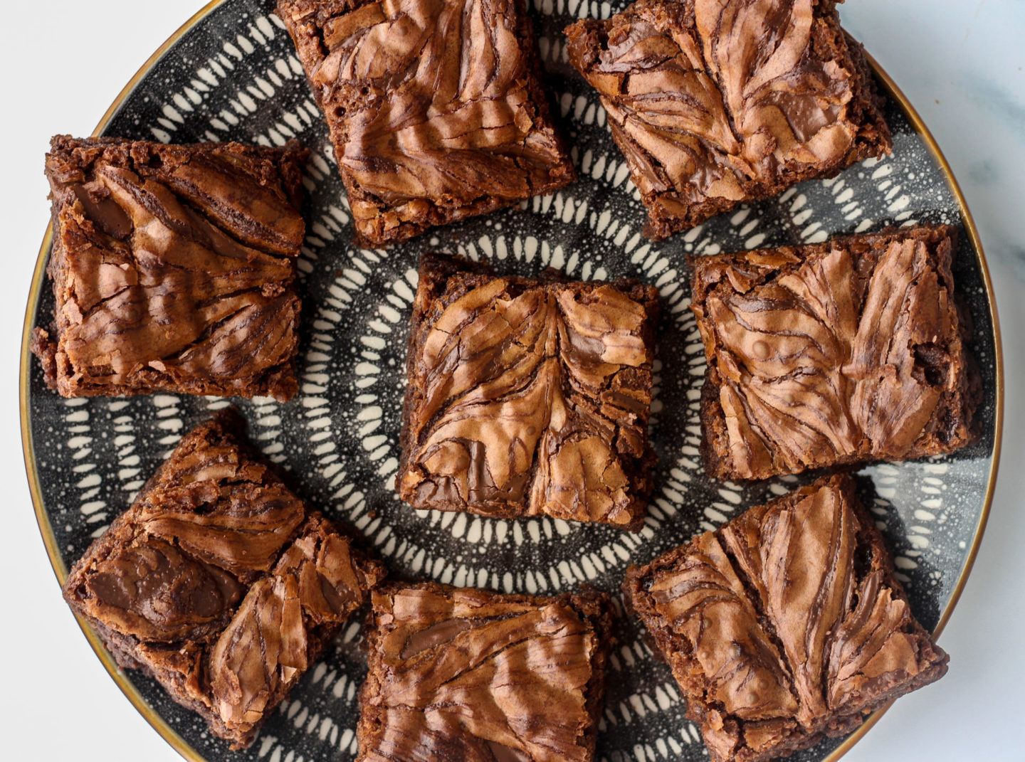overhead view of plate of nutella brownies