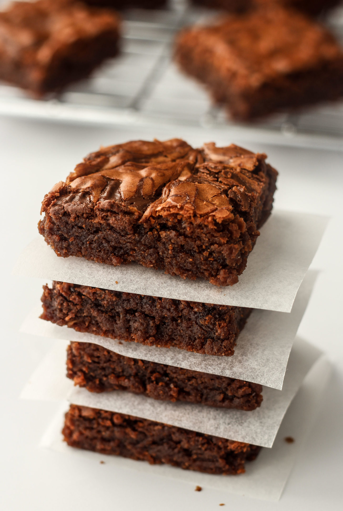 stack of nutella brownies on baking paper