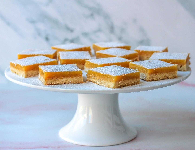 cake stand full of lemon bars