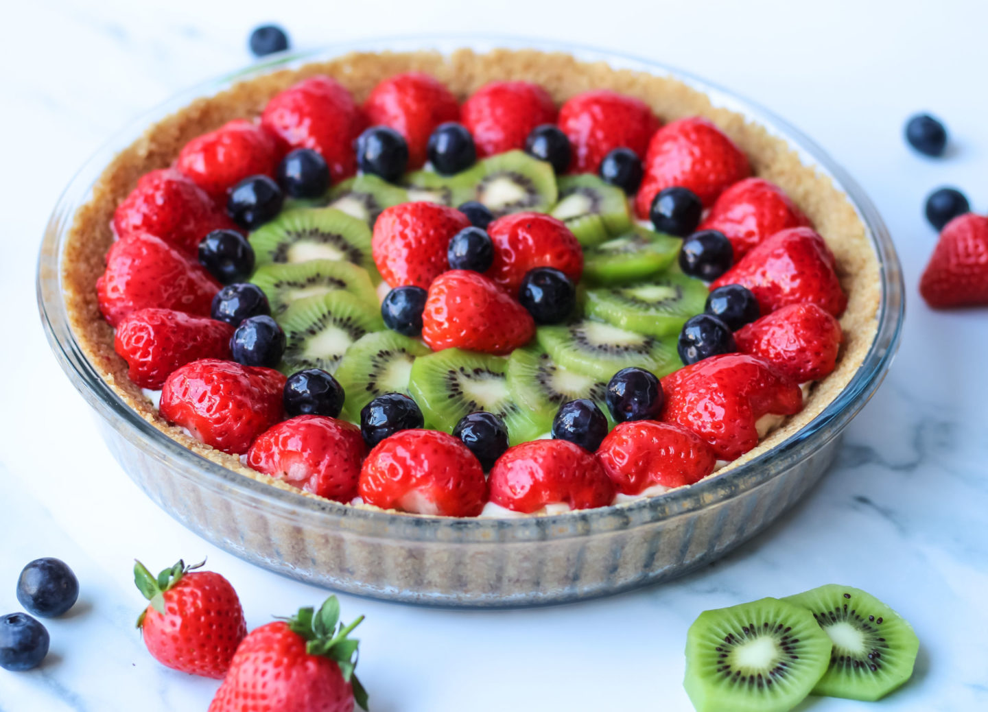 whole no bake fruit tart before slicing