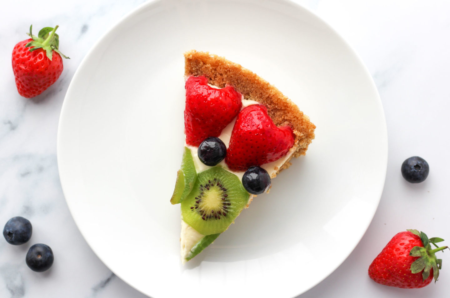 slice of no bake fruit tart