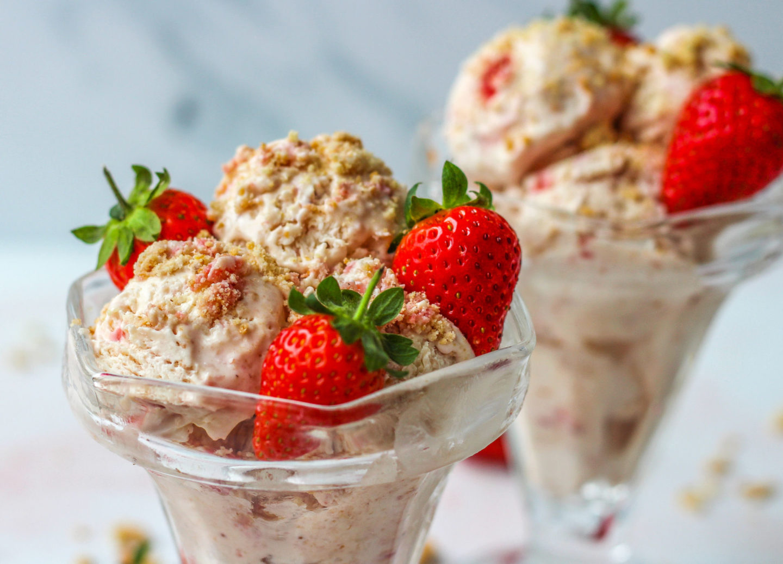 two strawberry cheesecake sundaes
