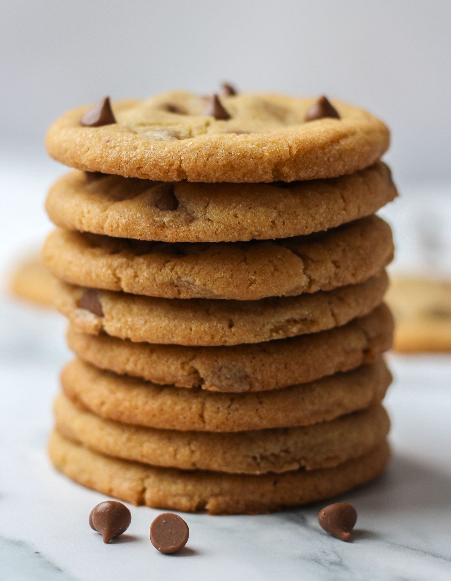 Tower of chewy chocolate chip cookies