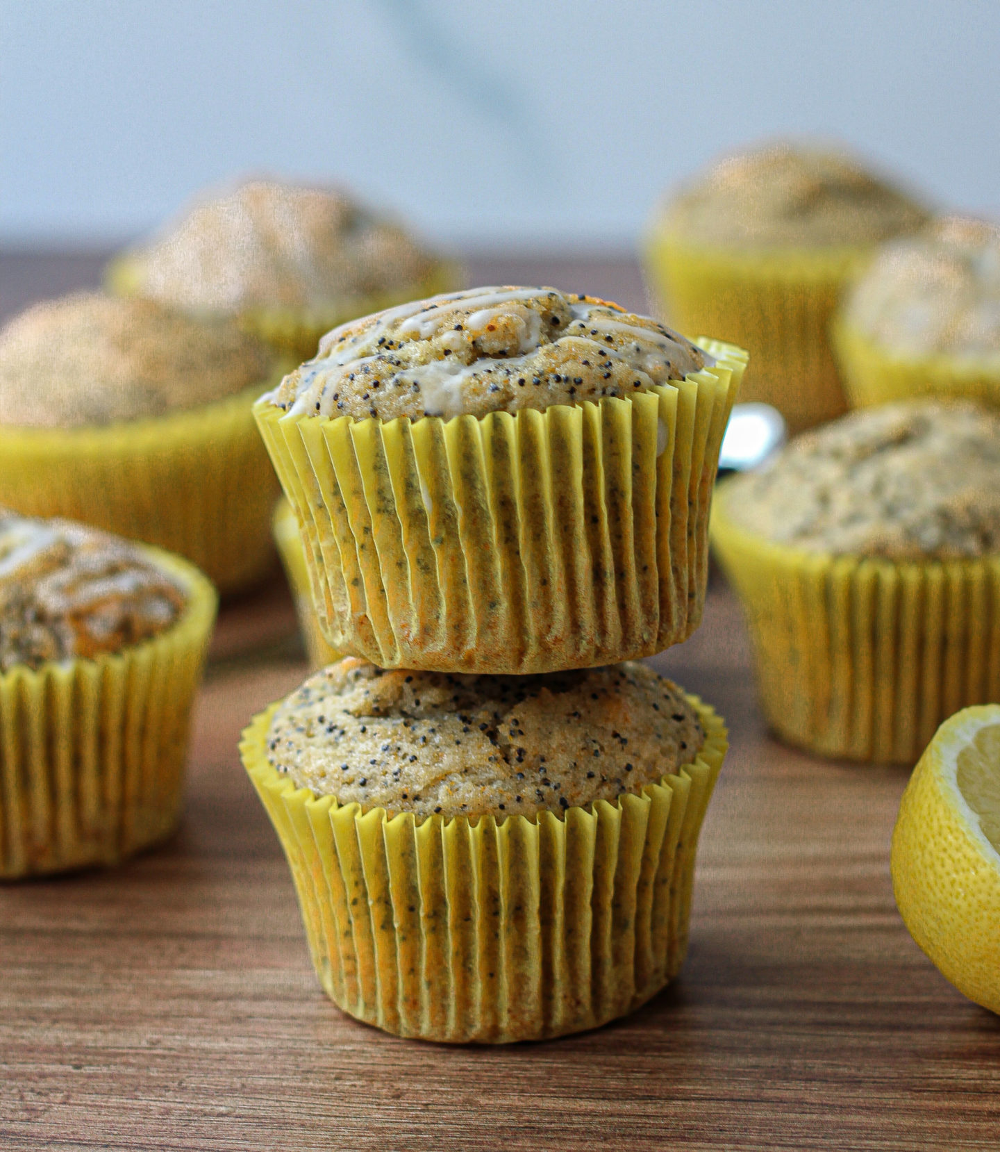 small tower of two lemon poppy seed muffins