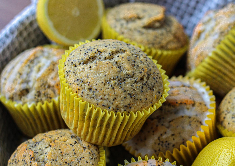 basket of lemon poppy seed muffins