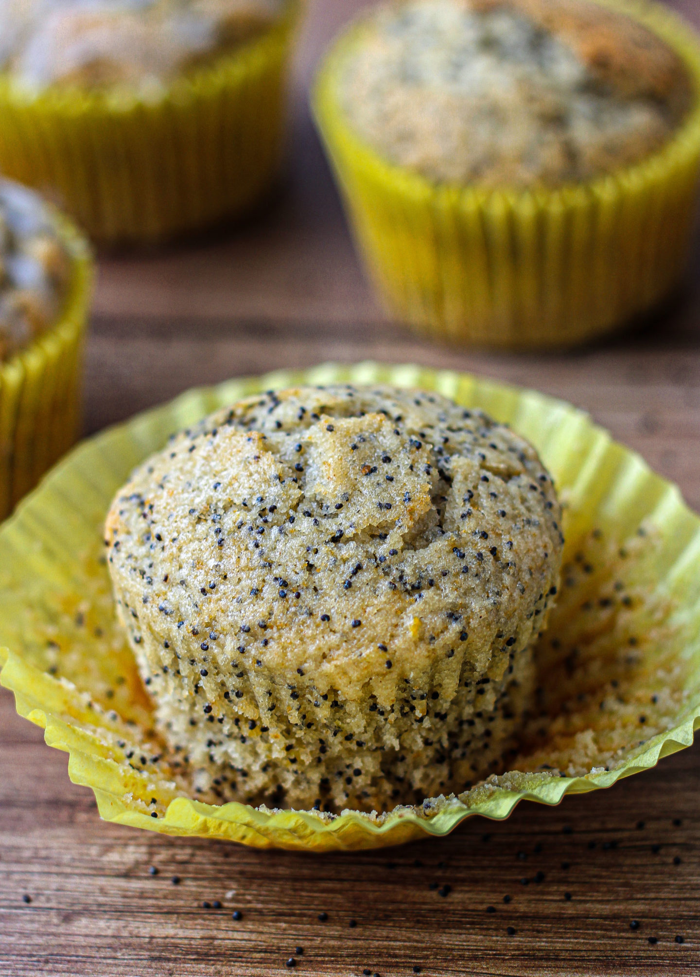 close up of lemon poppy seed muffin with muffin case peeled off