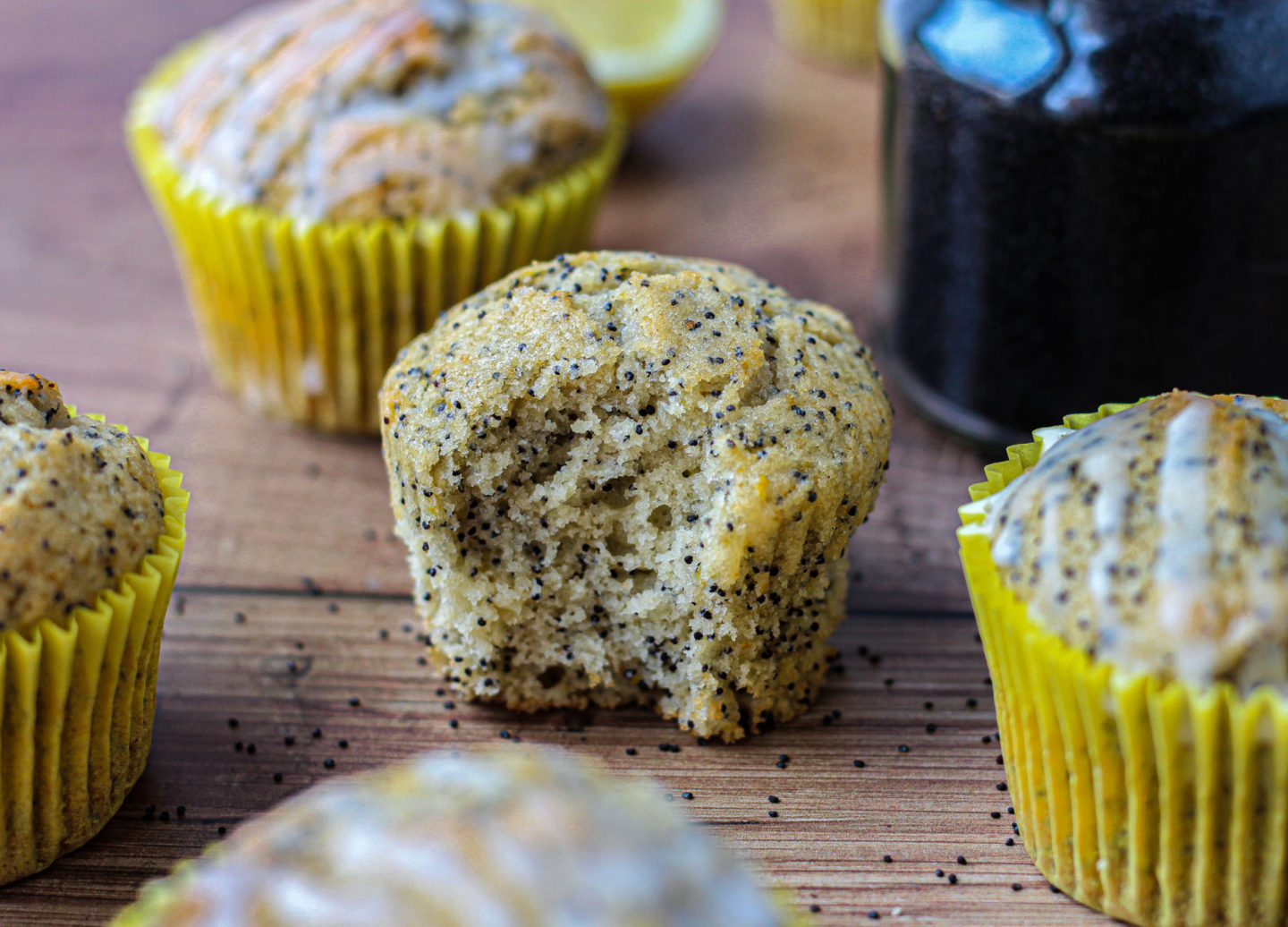 close up of inside of lemon poppy seed muffin