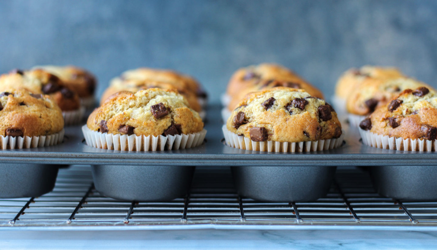 close up of chocolate chip muffins in muffin tray