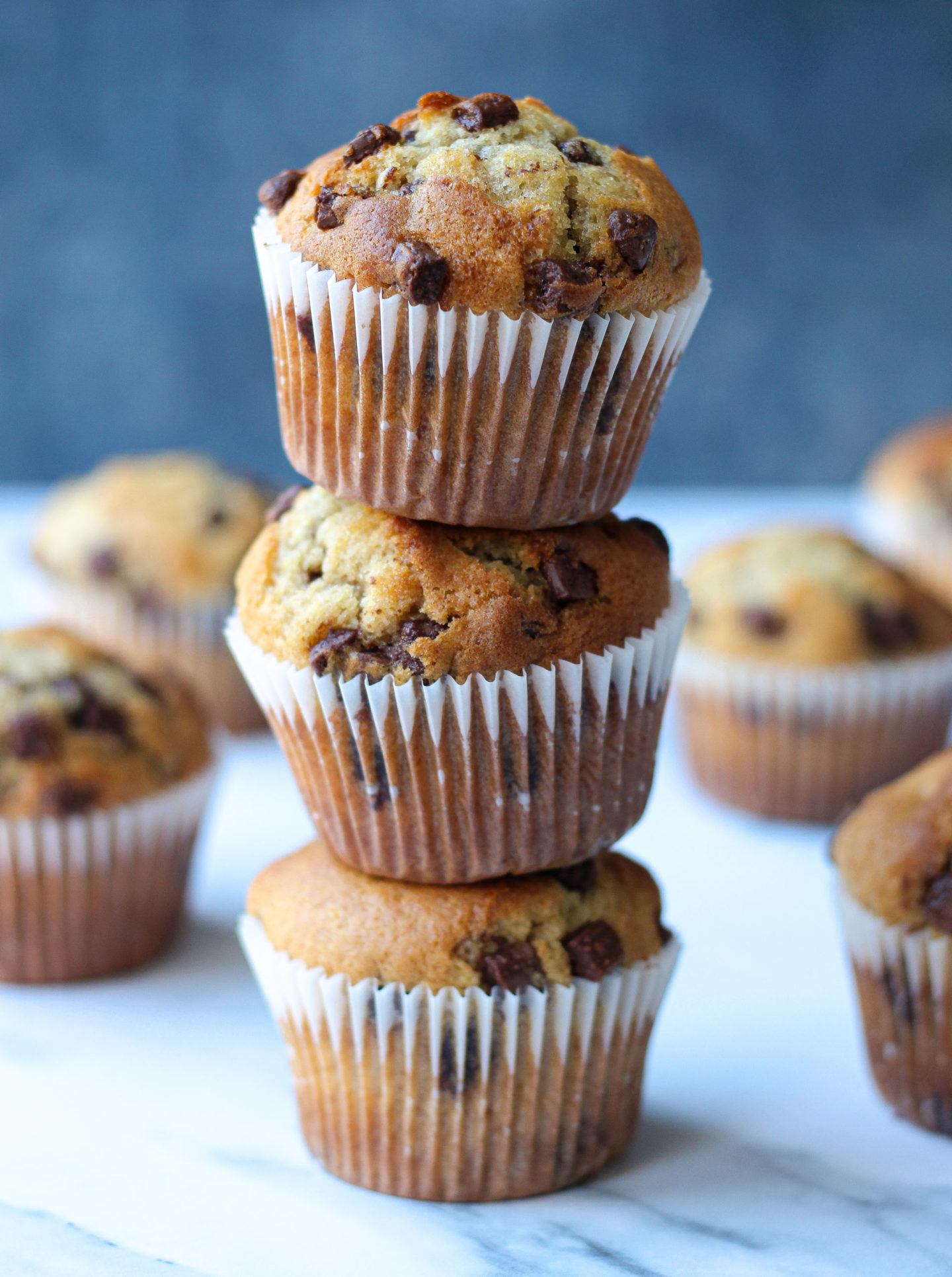 tower of three chocolate chip muffins