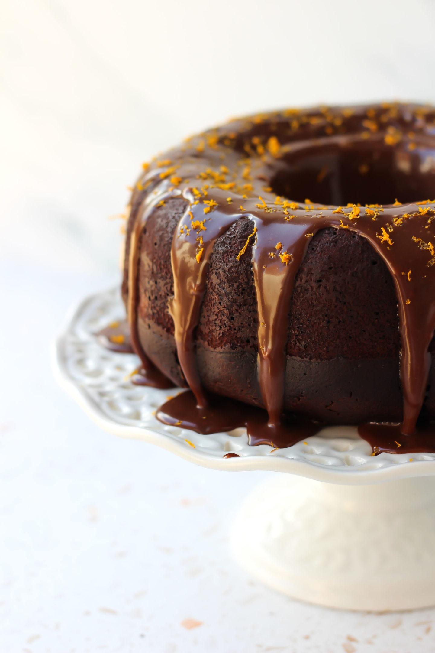 side view of half chocolate orange Bundt cake