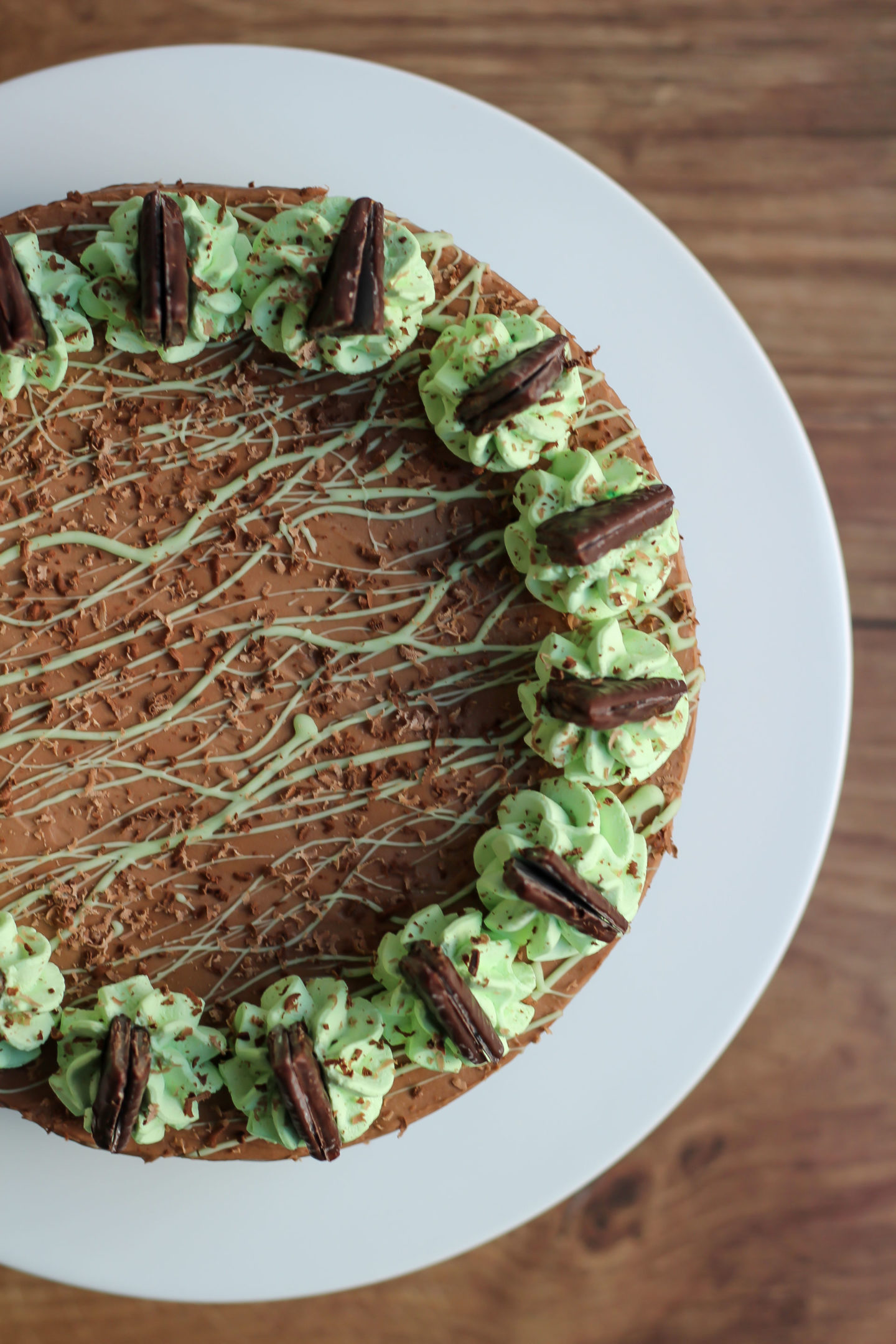 Overhead view of almost whole no-bake mint chocolate cheesecake
