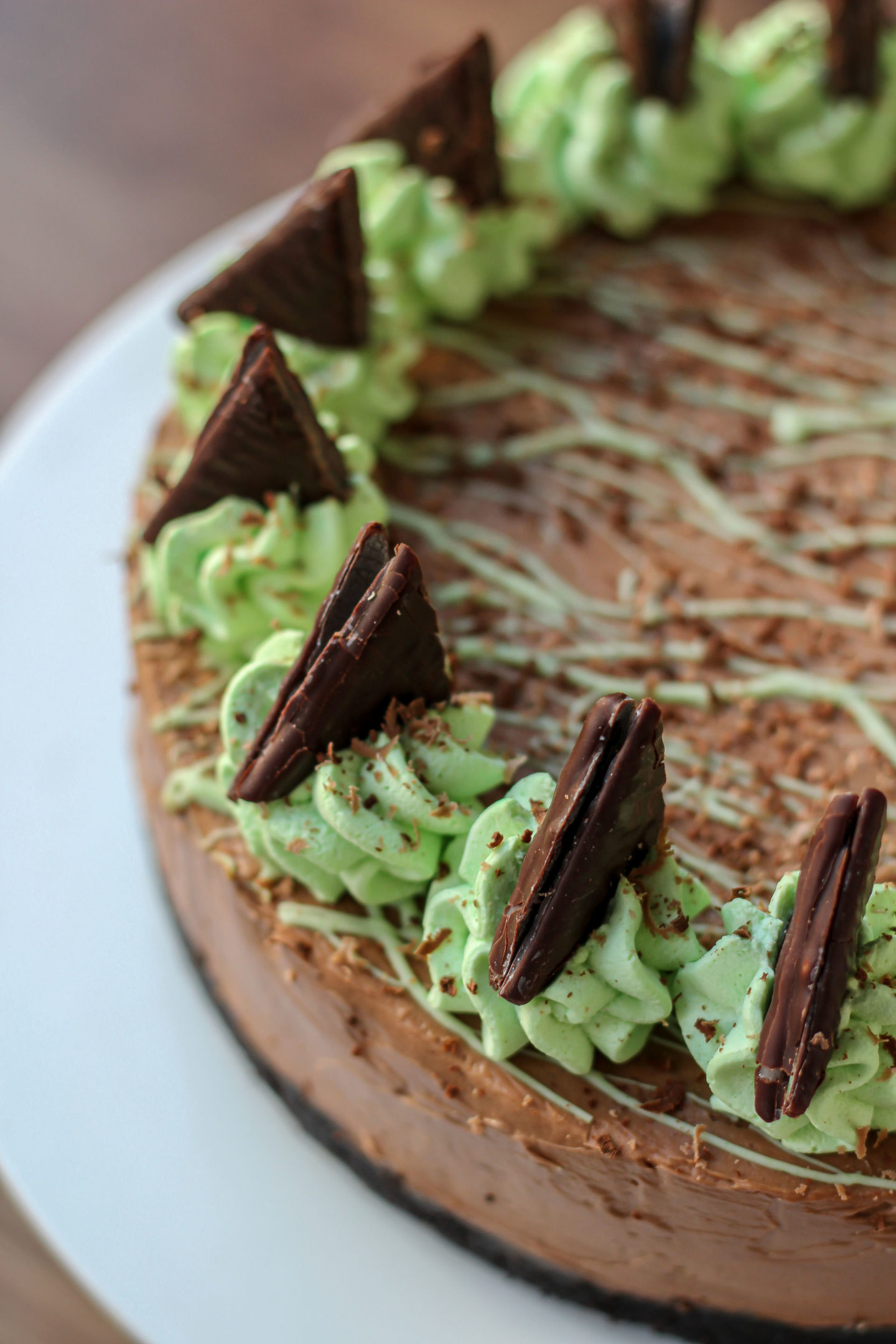Close up of part of no-bake mint chocolate cheesecake