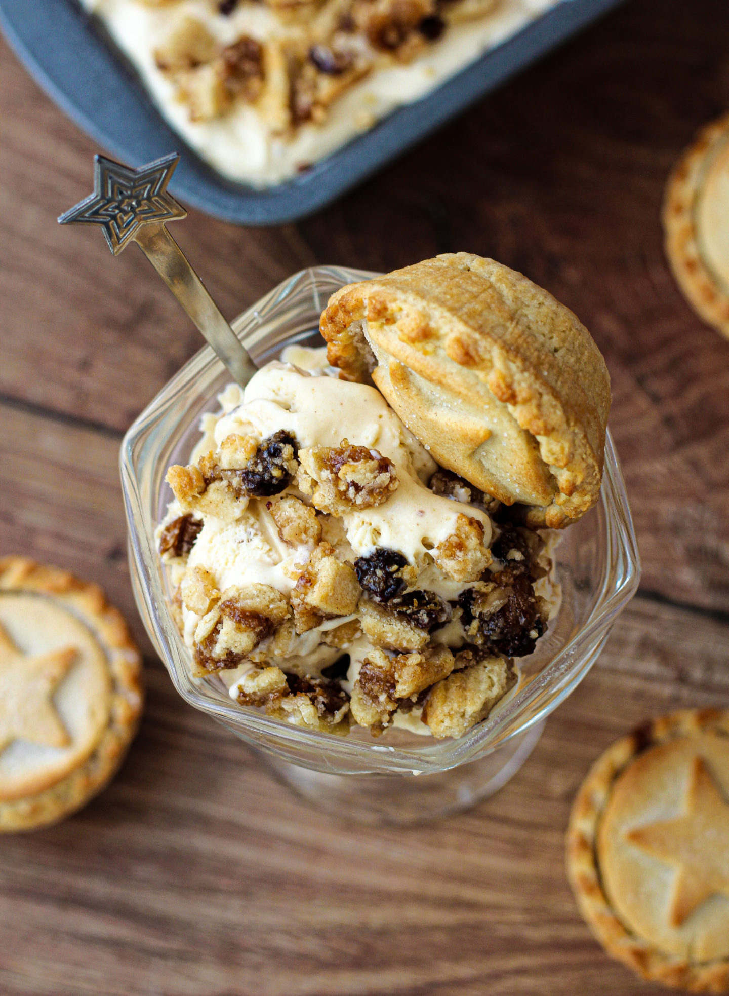 view from above of no-churn mince pie ice cream in serving dish and mince pie on top