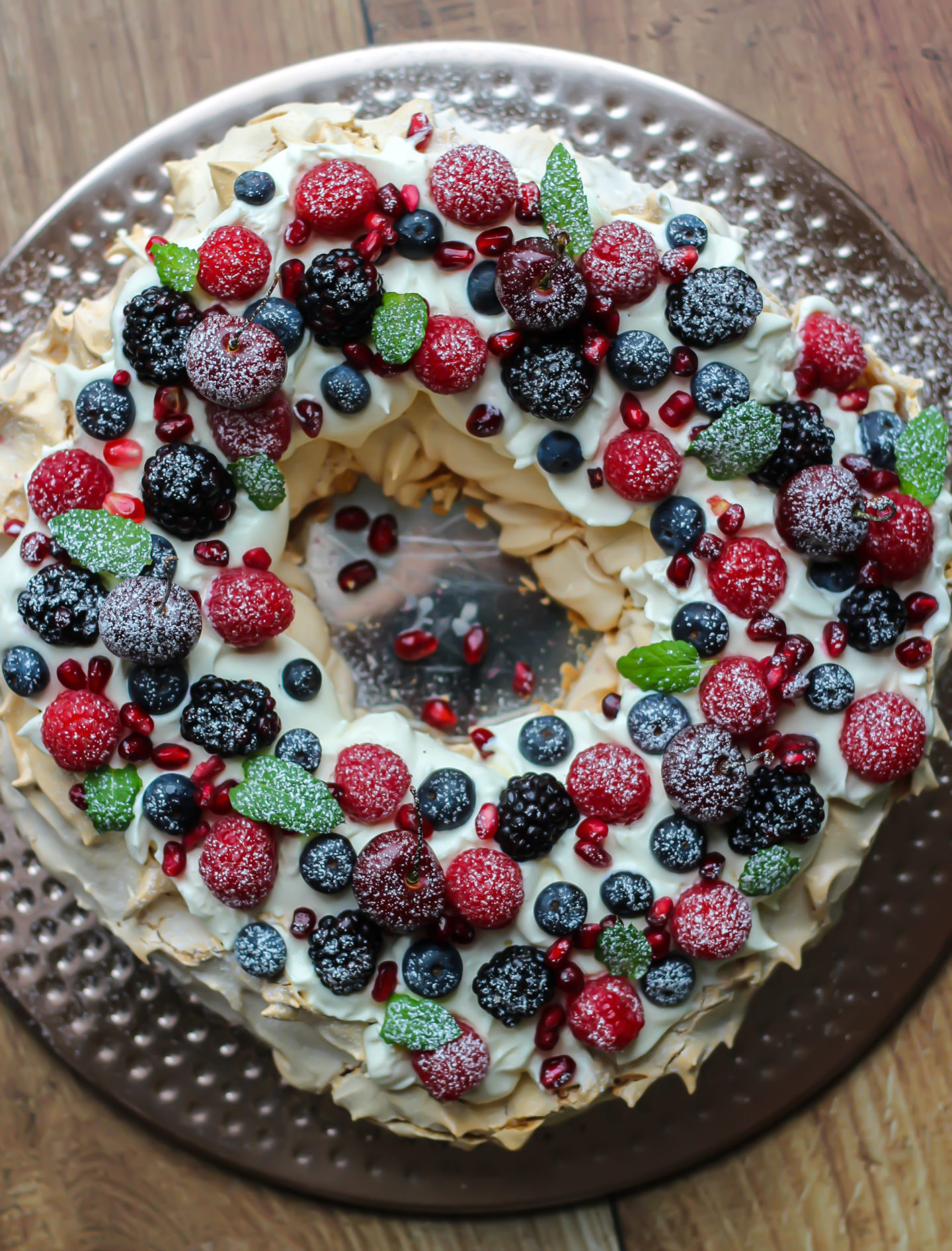 view from above of Christmas berry pavlova wreath
