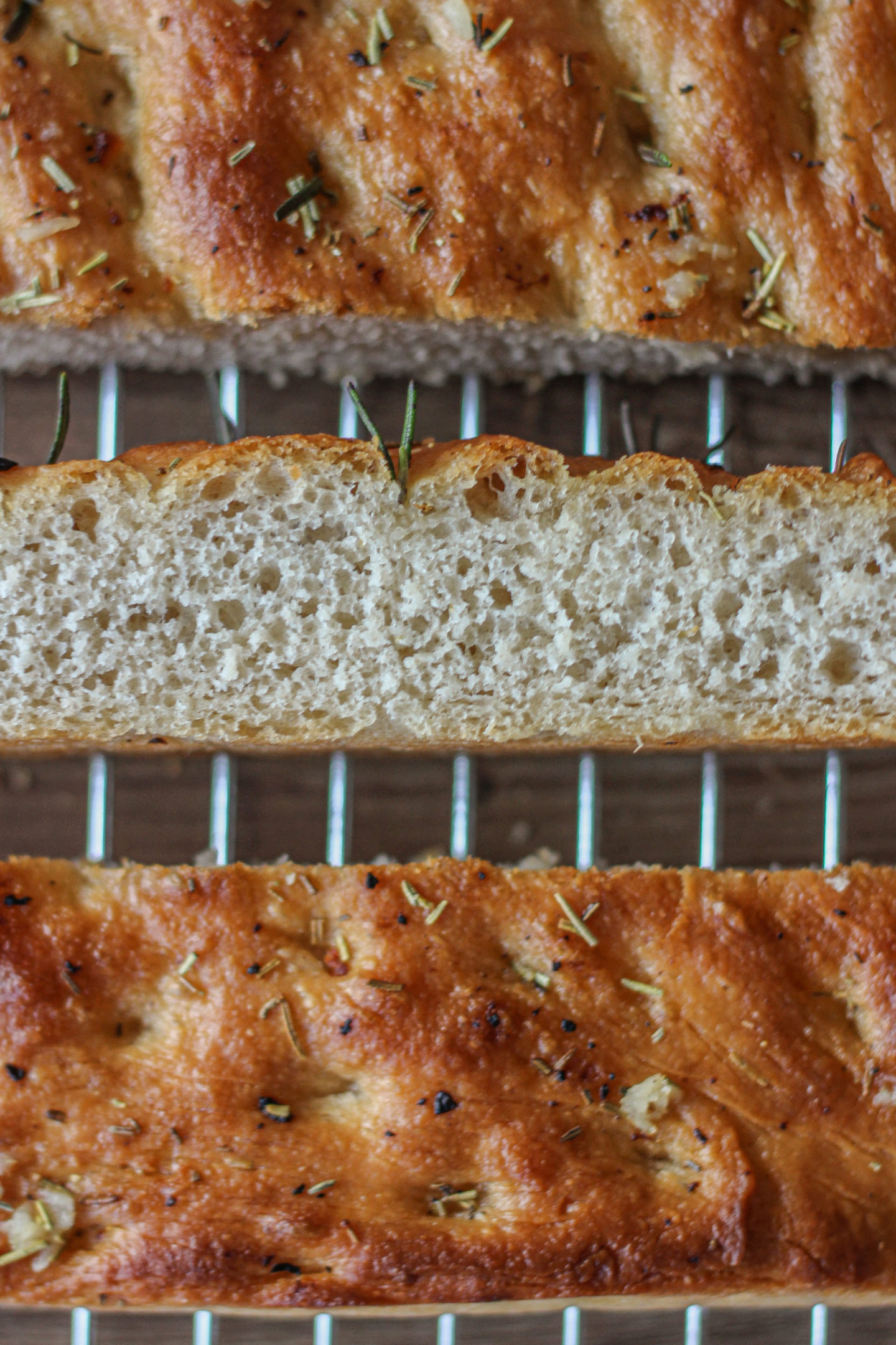 close up of texture inside garlic and rosemary focaccia