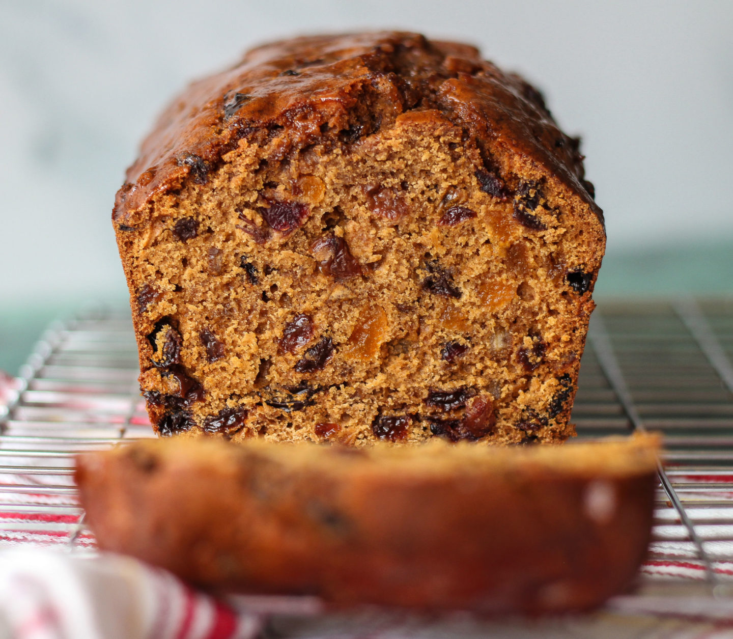 central view inside bara brith with slice in front which is out of focus