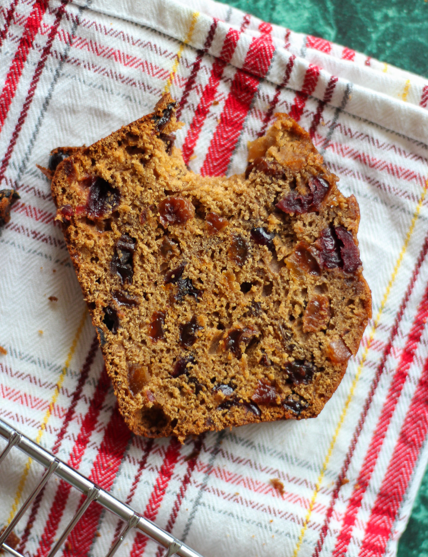 view from above of slice of bara brith with bite taken out of it