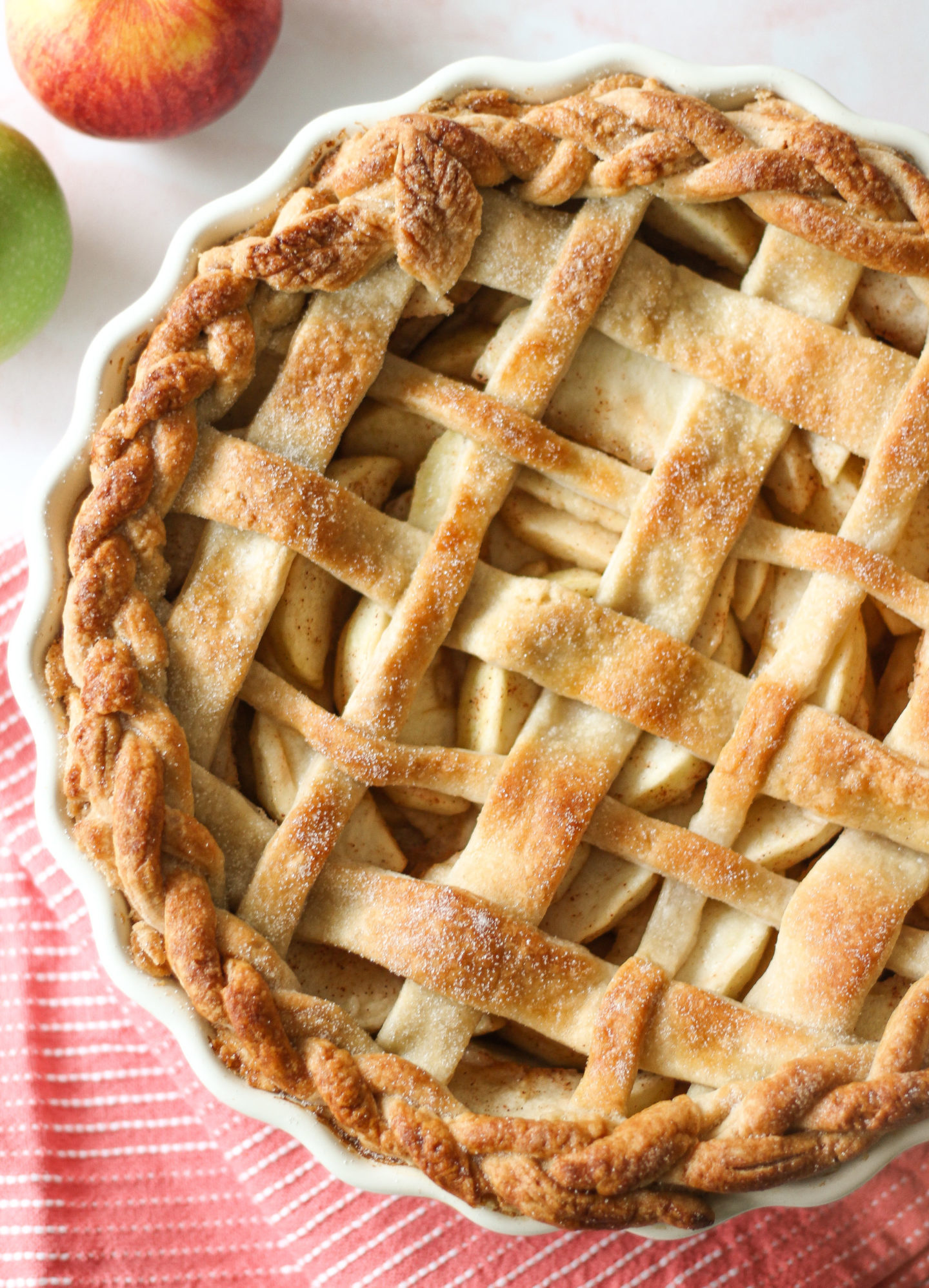 view from above of uncut lattice apple pie