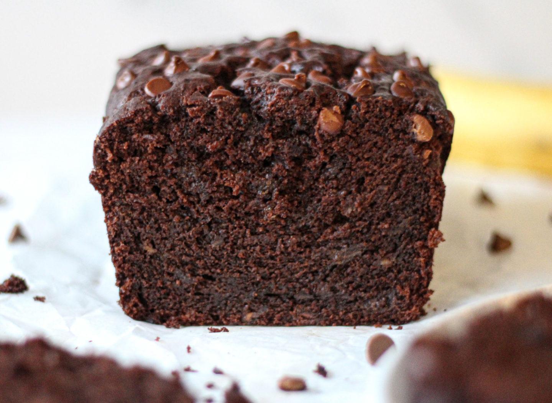 close up inside chocolate banana loaf cake