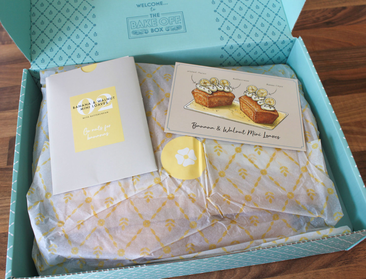 view inside the bake off box for banana and walnut mini loaves