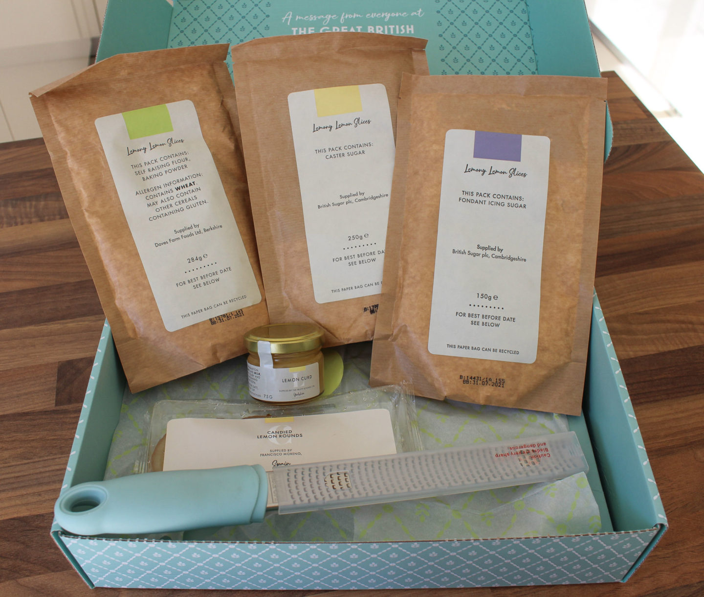 Image showing dry ingredients and other contents found inside the bake off box: lemony lemon slices
