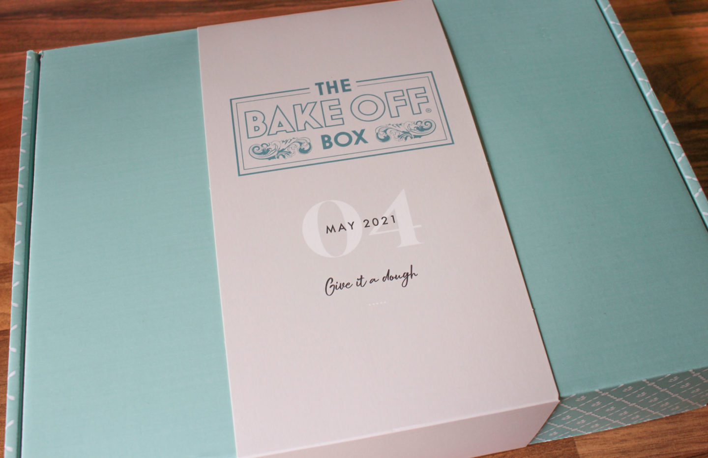 the bake off box containing dry ingredients and instructions on how to make chocolate and hazelnut babka