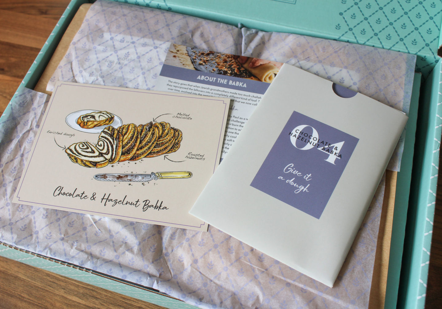 recipe card found in the bake off box to make the chocolate and hazelnut babka