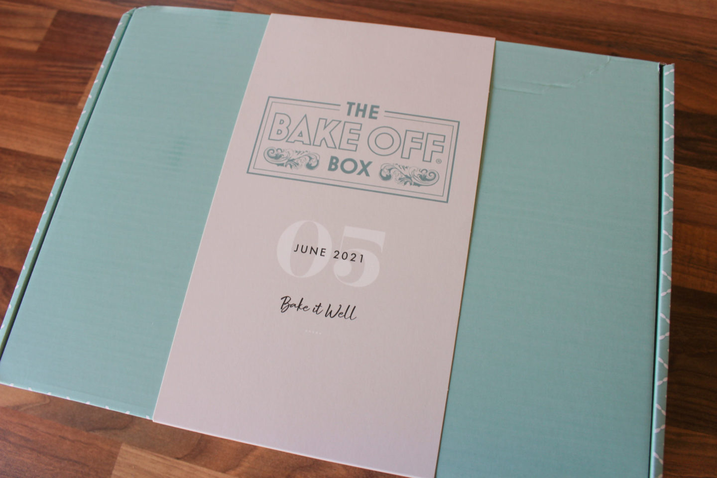 unopened bake off box containing ingredients and equipment to make a Bakewell tart