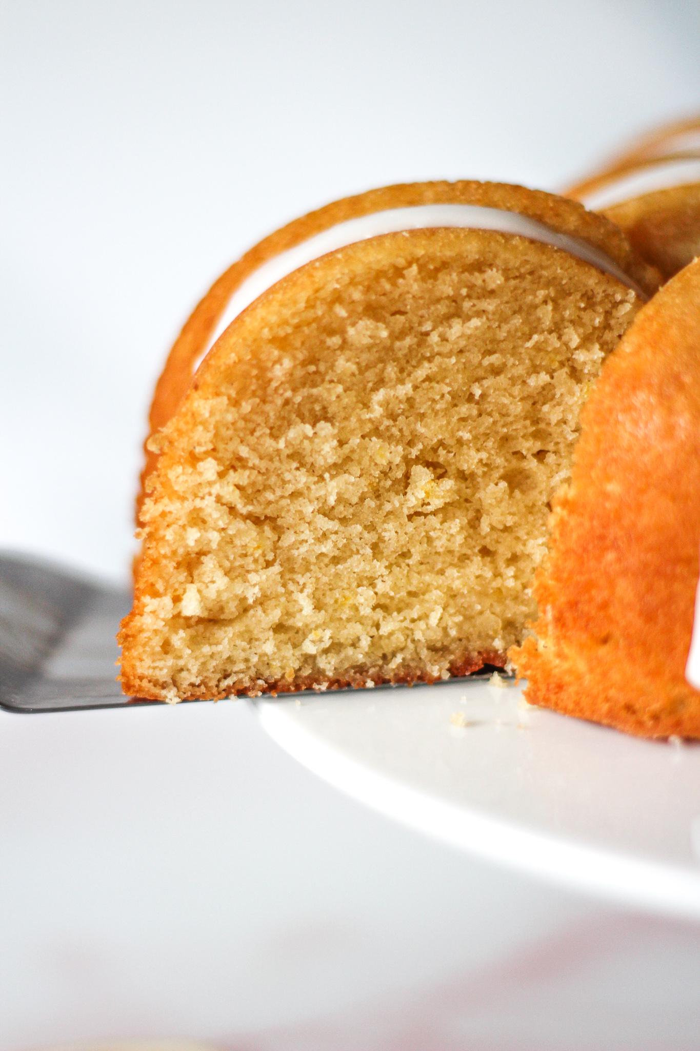 Close up of texture inside a emon drizzle bundt cake