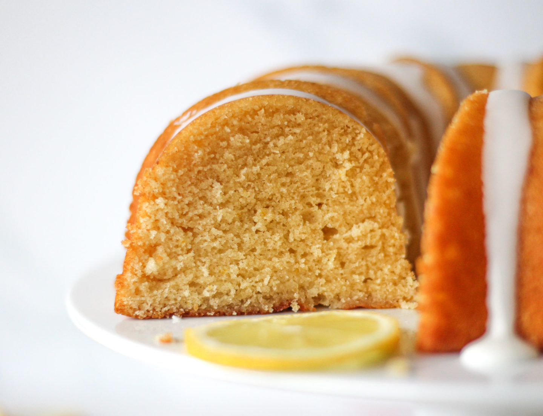 Close up inside of lemon drizzle bundt cake